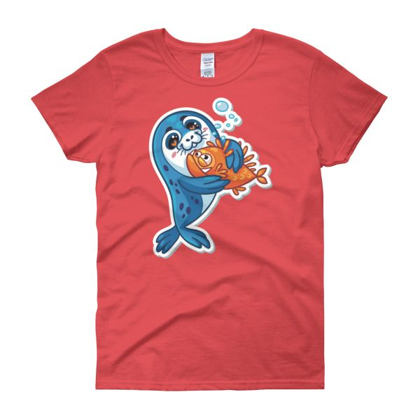Seal Fish Puppy Womens T-Shirt – Happy Seal Collection – Gildan 5000L  Product: Gildan 5000L Ladies Heavy Cotton Short Sleeve T-Shirt  A heavy cotton, classic fit ladies scoop neck t-shirt. • 100% cotton jersey • Pre-shrunk • Near-capped sleeves • Mid-scoop neck • ½ rib double needle collar • Missy contoured silhouette with side seam