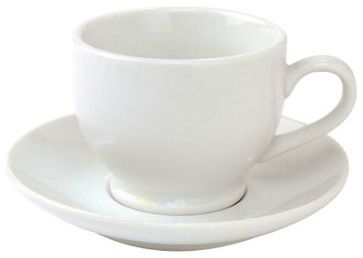 White Porcelain Espresso Cup and Saucer traditional-cappuccino-and-espresso-cups