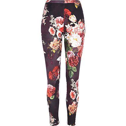 Black floral print scuba leggings #riverisland