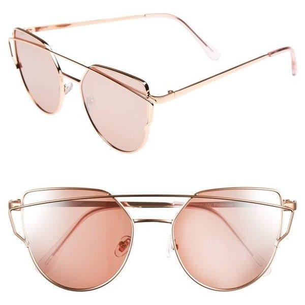 Women's Bp. 51Mm Thin Brow Angular Aviator Sunglasses (46 BRL) ❤ liked on Polyvore featuring accessories, eyewear, sunglasses, rose gold, aviator style glasses, rose gold glasses, rose gold sunnies, rose gold aviator sunglasses and rose gold sunglasses