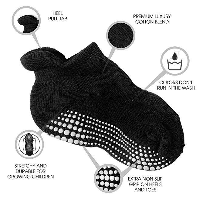 Baby Toddler Infant Newborn Kids Boys Girls Non Slip//Anti Skid LA Active Athletic Crew Grip Socks