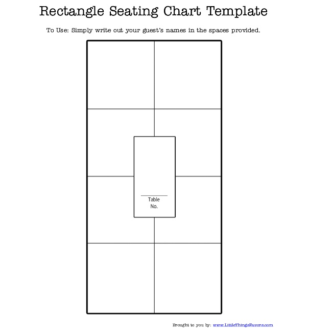 free printable #rectangle #seating #chart for #weddings and parties