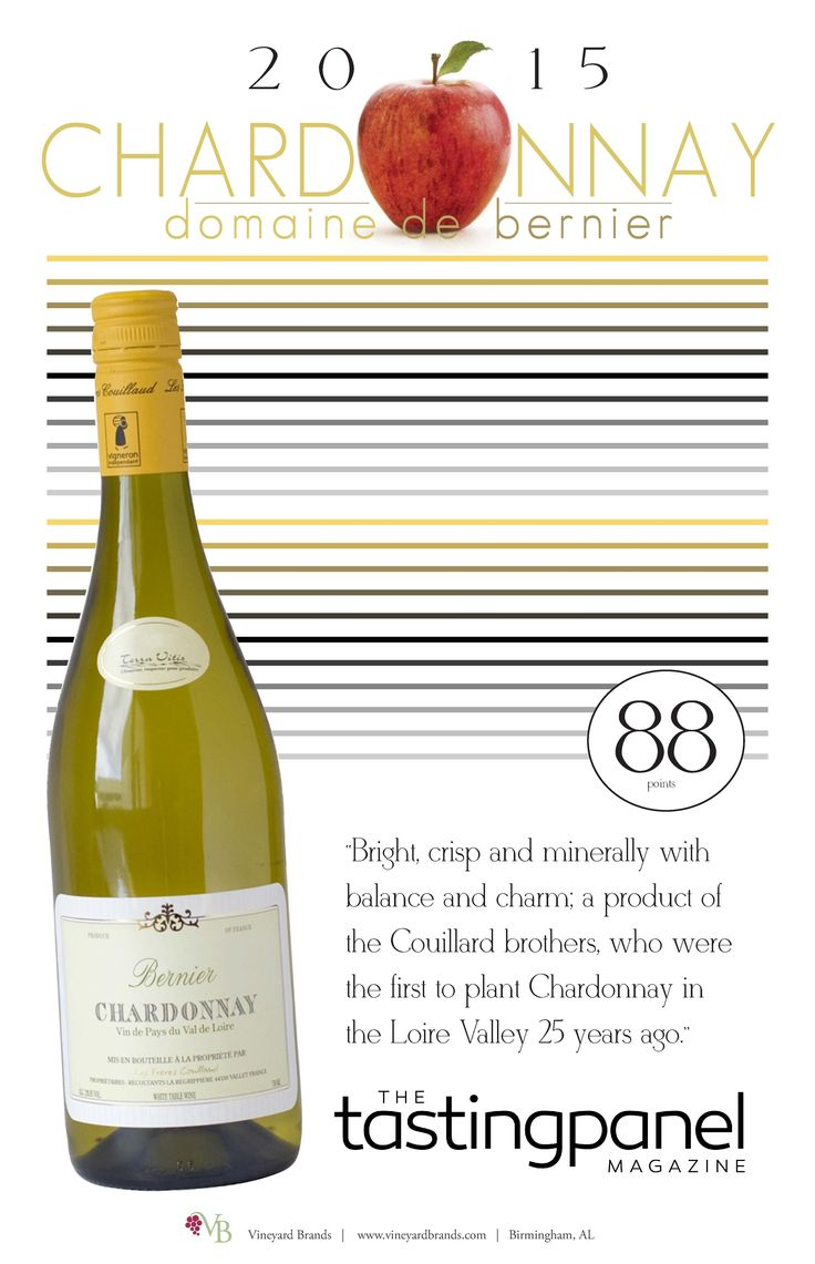 Domaine de Bernier Chardonnay 2015 - 88 points - The Tasting Panel
