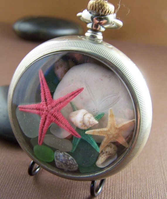 Sea Glass Desk Top Table Top Decor Accessory. Antique pocket watch case filled with sea treasures! Stone Street Studio.
