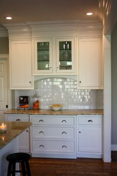 1000 images about bulkhead treatment on pinterest for White kitchen cabinets with crown molding