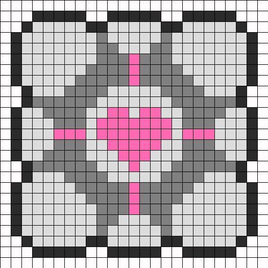 Large Companion Cube Perler Bead Pattern | Bead Sprites | Misc Fuse Bead Patterns