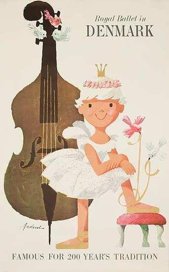 DP Vintage Posters - Royal Ballet in Denmark Original Danish Travel Poster