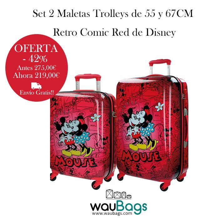 """Consigue el original y divertido Set de Maletas Trolley (tamaño cabina y mediano) de la nueva colección """"Retro Comic Red"""" de Disney, ahora por tan solo 219€ y con gastos de envío gratis!!!  @waubags #disney #setdeviaje #juegodemaletas #maletas #trolley #minnie #mickey #oferta #descuento"""