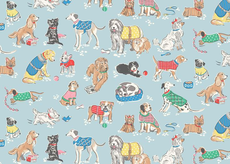Dogs | A new doggy design in a playful, sketchy style.  There's a four-legged friend for everyone as we've included the UK's most popular breeds and even pooches owned by our Head Office colleagues! | Cath Kidston Spring Summer 2017 |