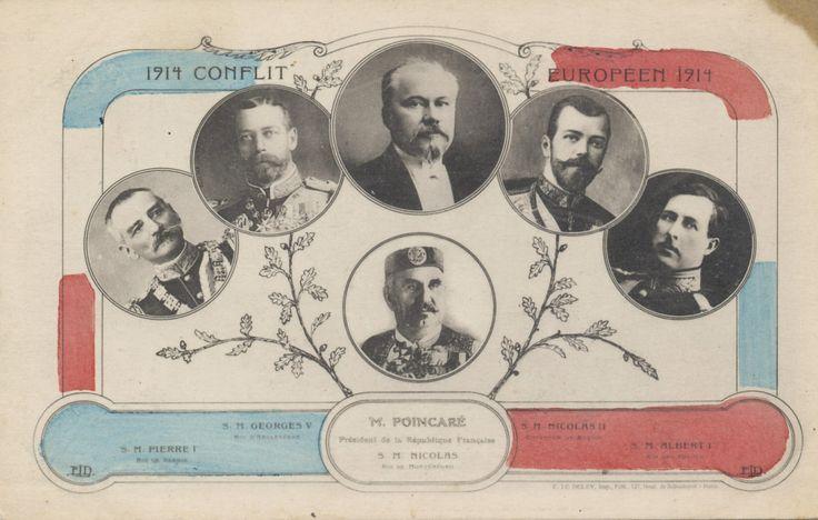 Лидеры Антанты. Слева направо: царь Петр Сербии, Король Великобритании Георг V, президент Франции Пуанкаре, царя Николая II, Король Альберт Бельгии, и на дно царь Николай Черногории.  Источник