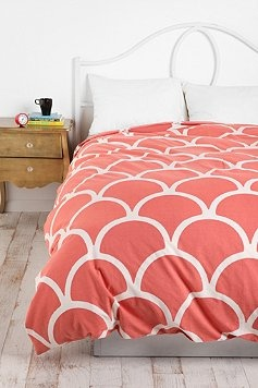 I like this for our (future) guestroom, which I want to do in coral, white and peacock blue or seafoam.