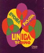 Fortunato DEPERO, cartolina postale originale a colori Buona Pasqua - Unica Torino, Torino (1927). Fonte: Venchi SPA, Castelletto Stura (CN)