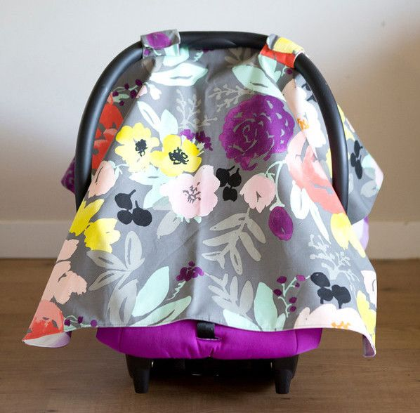 Bridge City Blooms on Grey & Buffalo Check Carseat Cover