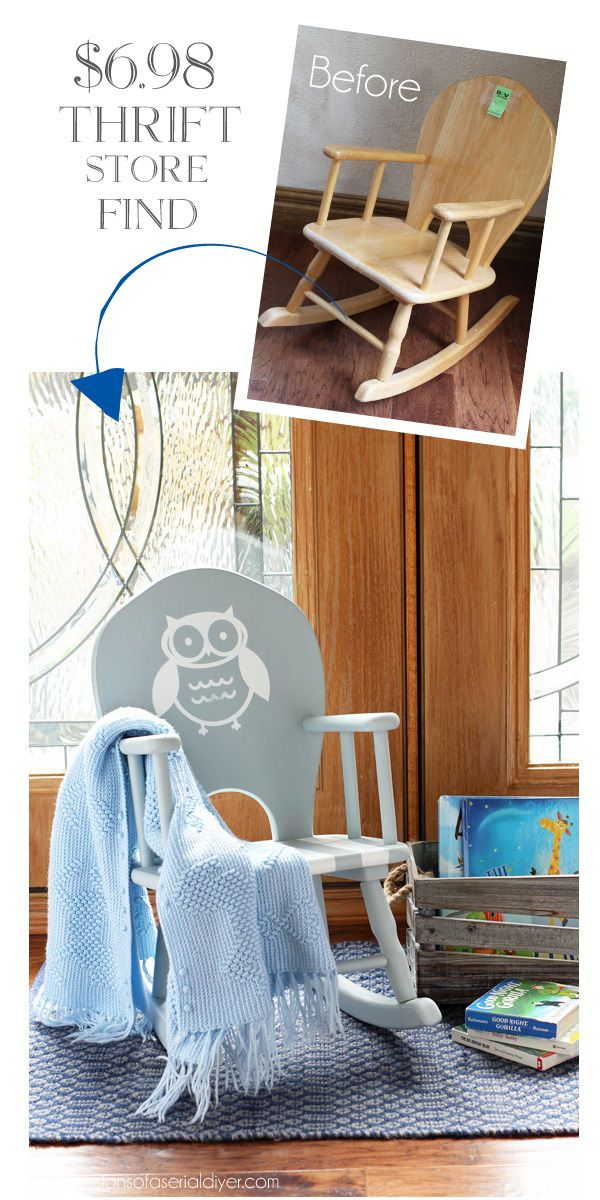 Sweet child's rocker makeover with the addition of this cute owl. confessionsofaserialdiyer.com