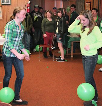 Try to stomp on each other's balloons, while the balloons are tied to their ankles, part of the fun and games