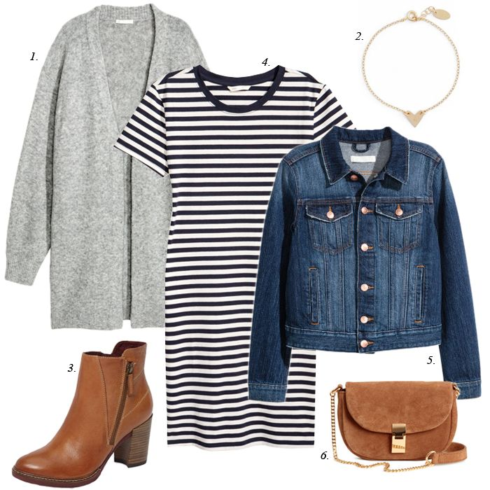 striped dress with denim jacket, casual outfit, women fashion, grey cardigan, wardrobe basics, wardrobe mixing, stylist