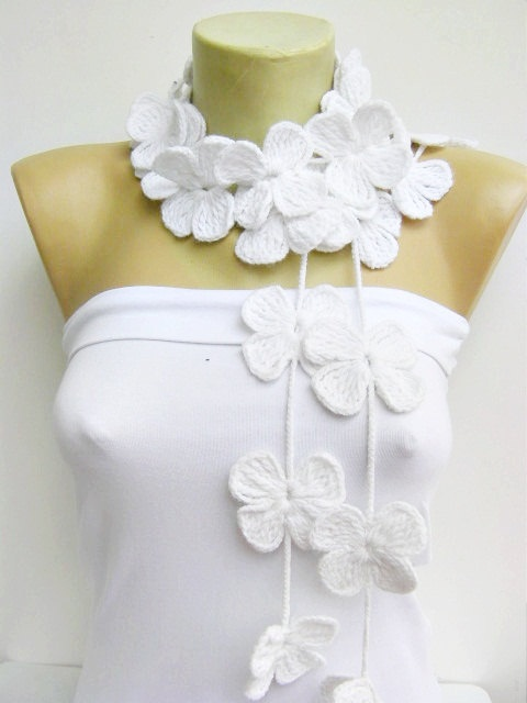 Flower scarf /lariat /crochet /jewelery/scarf. $25.00, via Etsy.