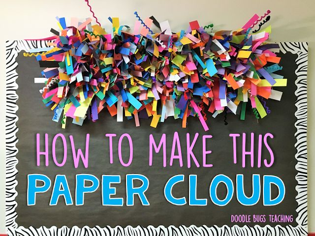 "Last summer I had a vision of this ""paper cloud"" I wanted to make to hang on the top of my hall bulletin board. I like to do some kind of decoration that can be left up all year. I have done paper po"