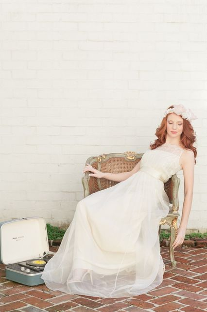 vintage wedding gown and hair accessory photographed by White Rabbit Studios #vintage #weddingdress #weddinginspiration http://thewhiterabbitstudios.com/