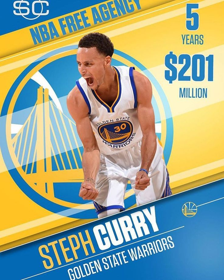Steph Curry becomes the highest paid player in NBA history, signing a 5 year 201 million dollar contract with the Warriors! 💸 -  How long will Curry stay with the Warriors? Leave your thoughts below! 👇🏼👇🏼👇🏼 -  #Curry4MVP #money #NBA #stephcurry #201 #warriors #dubnation #champion #mvp