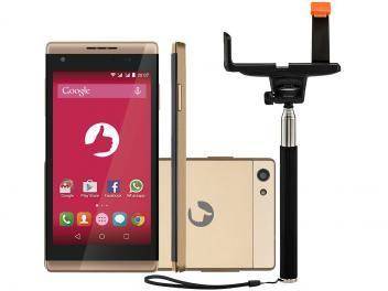 Smartphone Positivo Selfie S455 8GB Dourado - Dual Chip 3G Câm. 5MP com Bastão…
