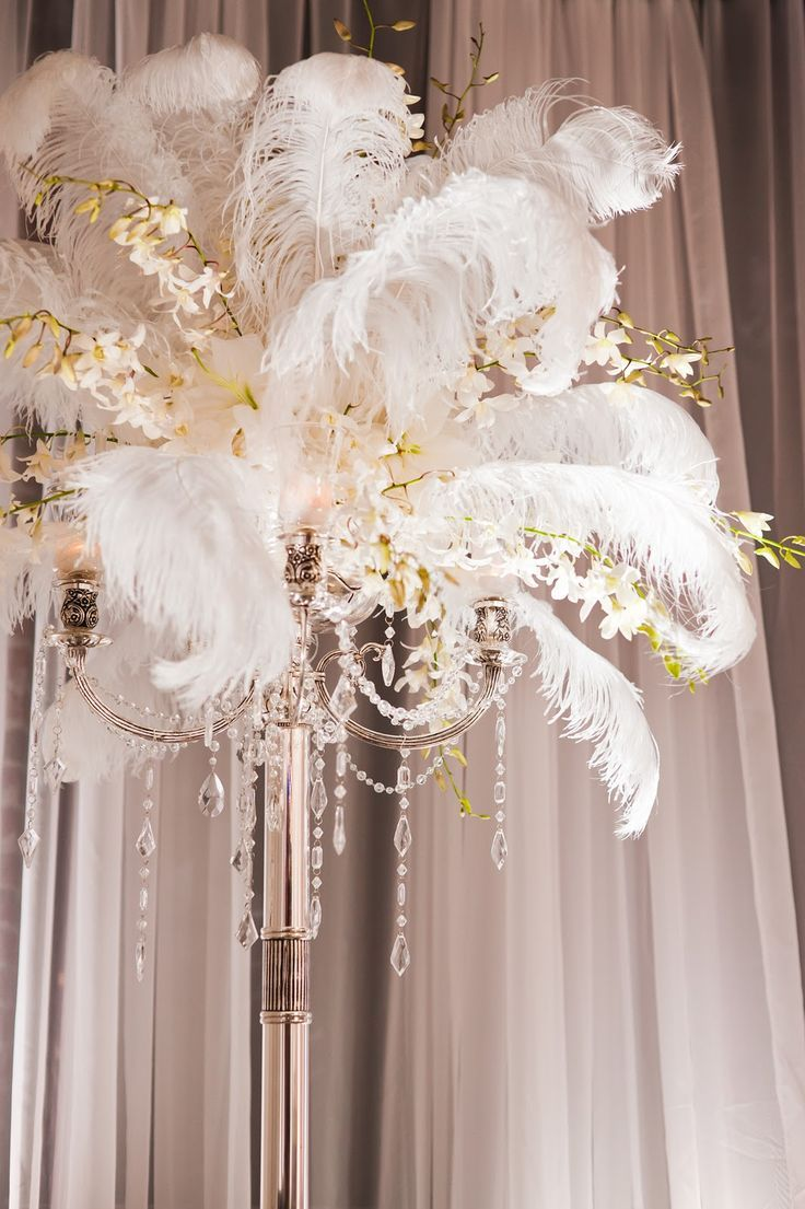 feathers and beads - great gatsby party centerpiece