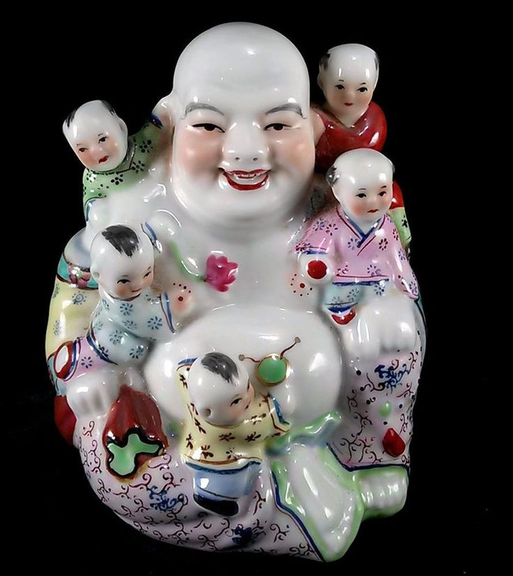 Vintage laughing buddha with children figurine good luck for Does buddha bring good luck