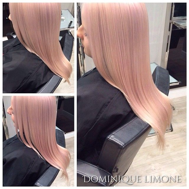 Flawless light pink hair color with flawlessly finished style by Dominique Limone. #hotonbeauty fb.com/hotbeautymagazine
