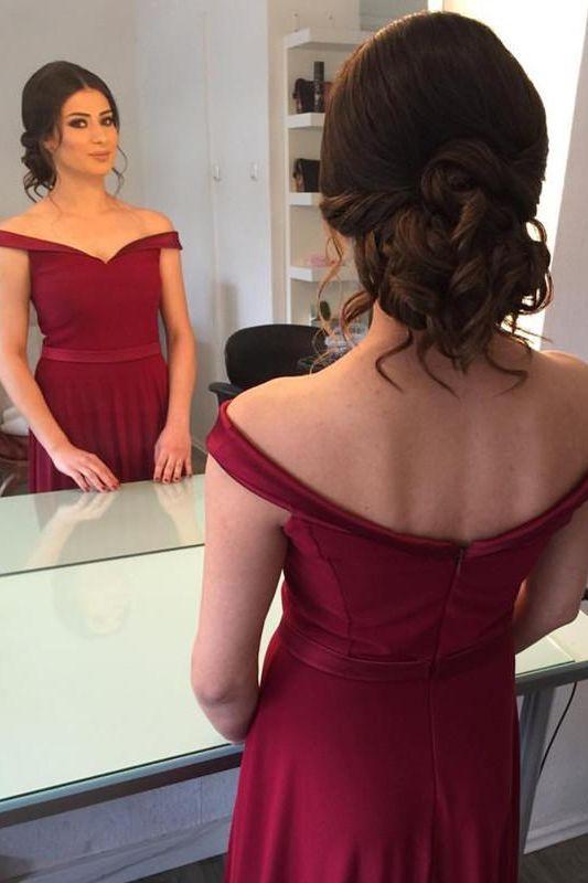 0ac8aaf43785 Elegant Off the Shoulder Burgundy Long Prom Dress in 2019