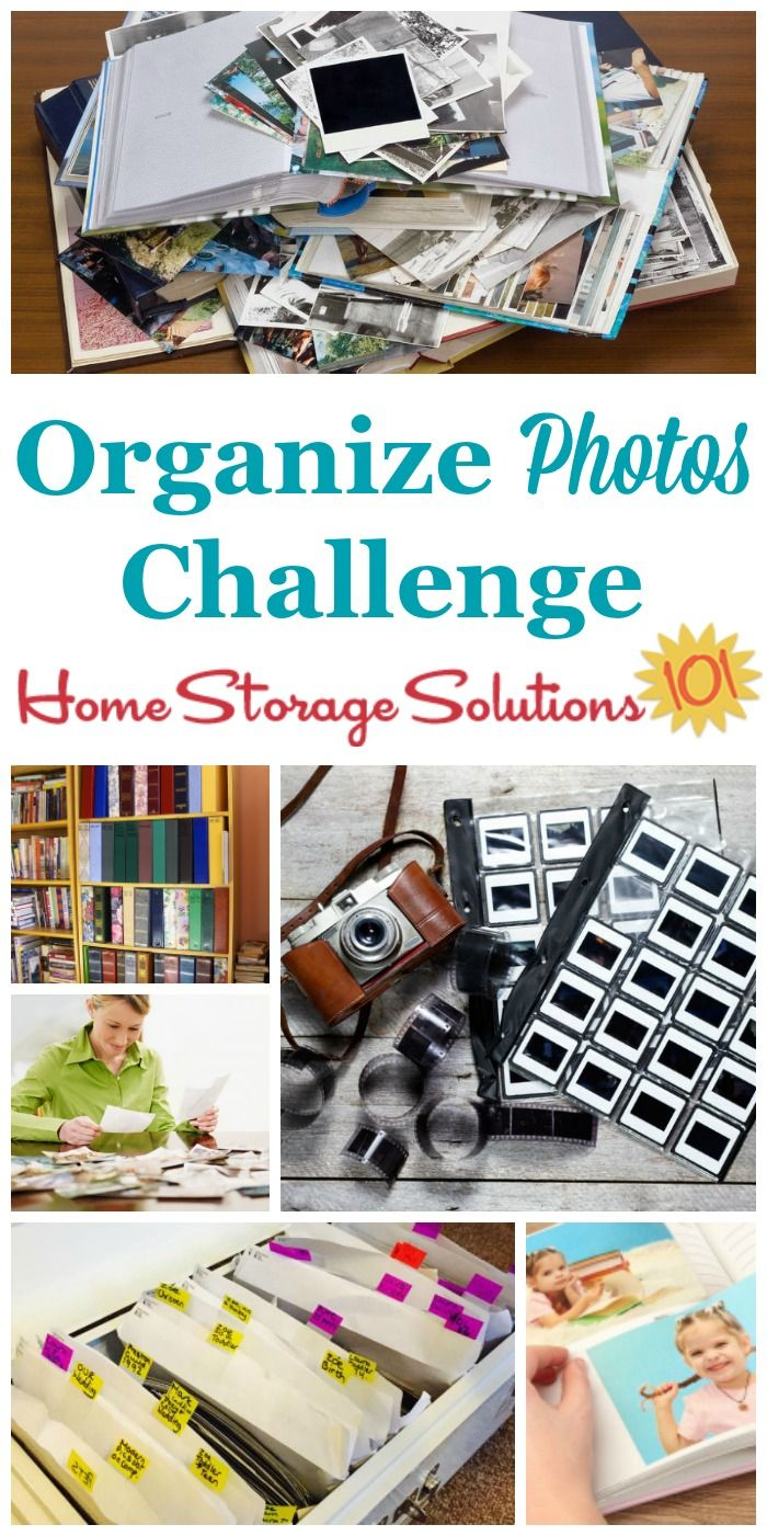How to organize photos, including loose photos, photo albums, digital photos, negatives, and more in this week's 52 Weeks to an Organized Home Challenge {part of the 52 Week Organized Home Challenge on Home Storage Solutions 101}