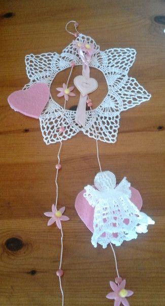 Varie - fiocco coccarda nascita rosa - un prodotto unico di bandullera su…