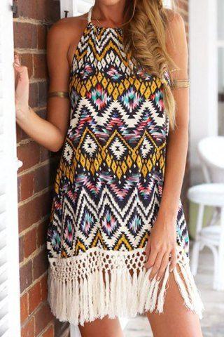 Bohemian Halter Floral Print Fringe Splicing Sleeveless Dress For Women Bohemian Dresses | RoseGal.com Mobile