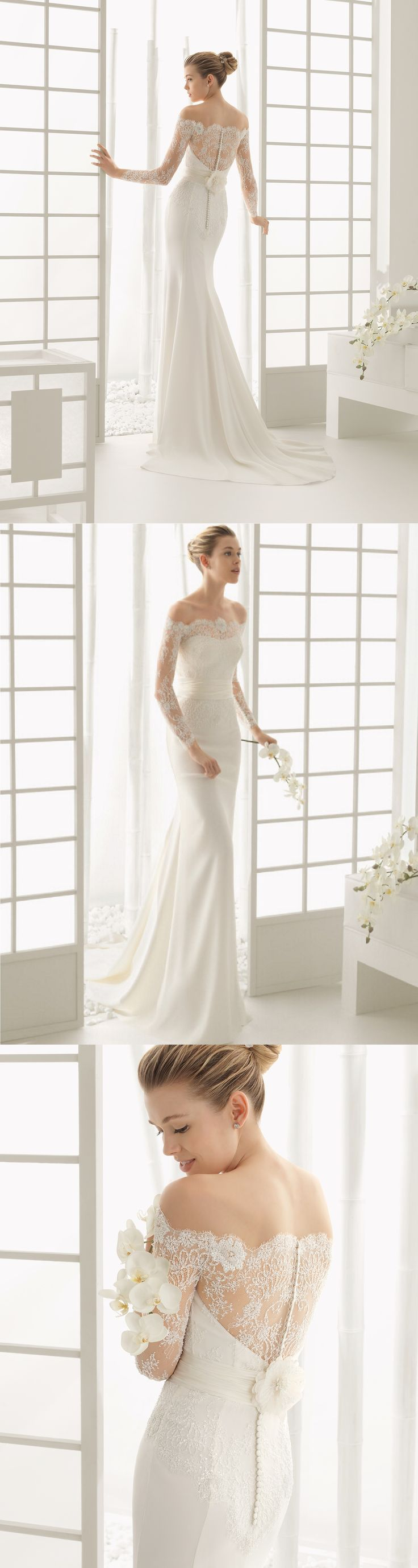 off the shoulder lace chiffon sheath/column wedding dress