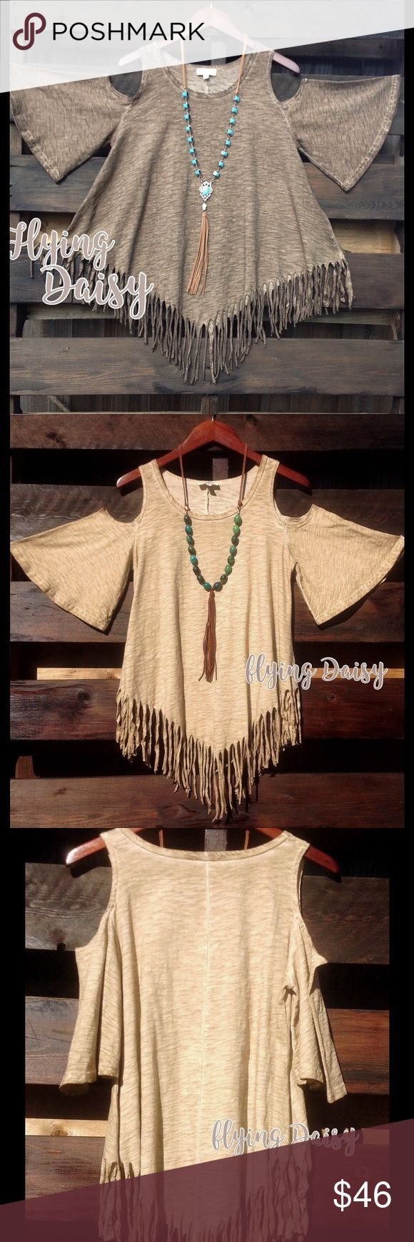 "Plus Size Fringe Cold Shoulder Tunic Top Cowgirl Mocha brown cut out cold shoulder top with fringe.  Flattering asymmetrical cut, made of cotton blend thick fabric. Western boho cowgirl style. Also available in other colors. See pics for the taupe color above. Please see measurements below to get the right fit.   X-Large - 22"" from underarm to underarm. Length from top of shoulder 29"".   1X -  23"" from underarm to underarm. Length from top of shoulder 29.5"".   2X - 24"" from underarm to…"