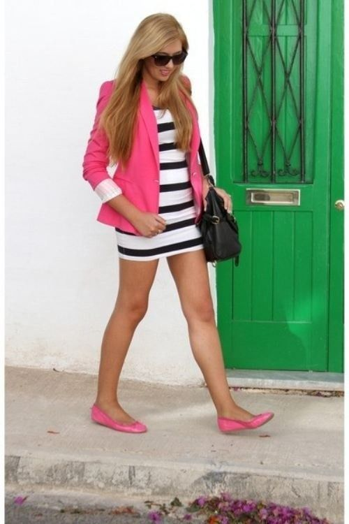 Shop this look on Lookastic:  http://lookastic.com/women/looks/sunglasses-blazer-bodycon-dress-crossbody-bag-ballerina-shoes/8784  — Dark Brown Sunglasses  — Hot Pink Blazer  — White and Black Horizontal Striped Bodycon Dress  — Black Leather Crossbody Bag  — Hot Pink Leather Ballerina Shoes