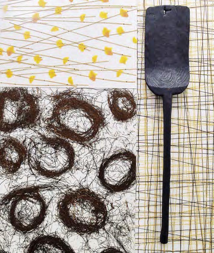 Al natural La colección Varia-Organics, de Hunter Douglas, fue creada con elementos naturales como fibras, tejidos o ramas encapsulados en ecorresina, que eleva la belleza de la naturaleza a una estética moderna. Gingko Thatch es una combinación de bambú y flores amarillas; Sonoma Nest son fibras orgánicas que recuerdan un nido y Struck Jute, hilos de yute natural tensados en diferentes direcciones.