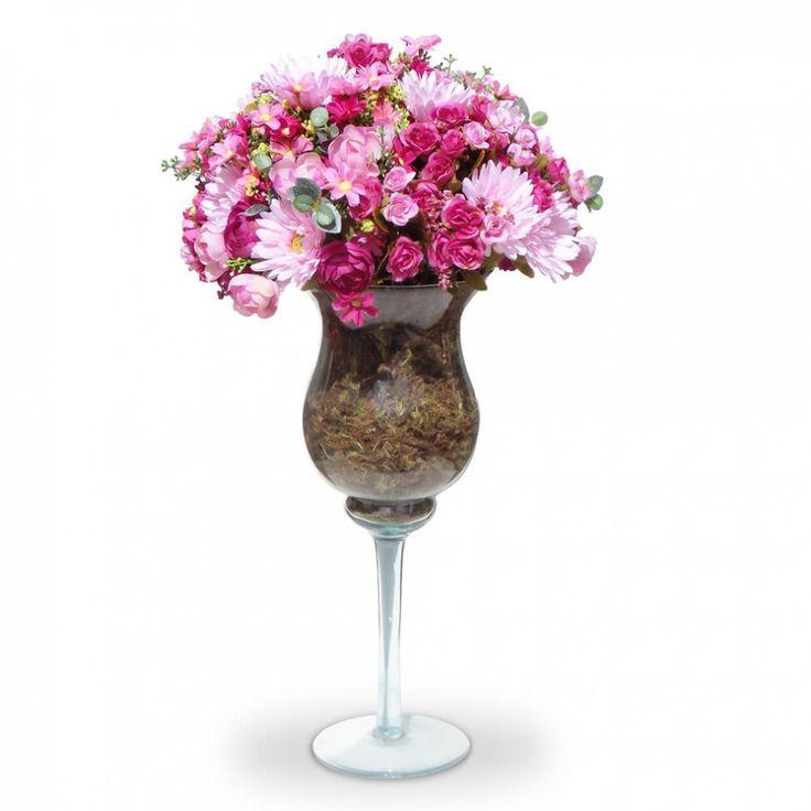 Arranjos de Flores Artificiais Mistas na Taca de Vidro