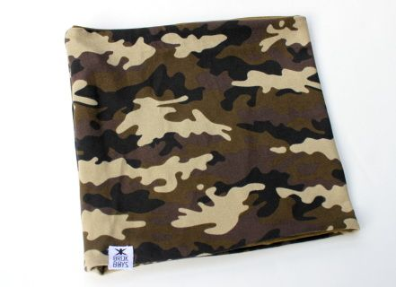 Brok Boys camo fabric in cotton/spandex mix. Reversible side is solid army green bamboo fabric. Nice weight. Great stretch. Super soft. Drool or cool.  2 sizes baby-toddler and big kid.