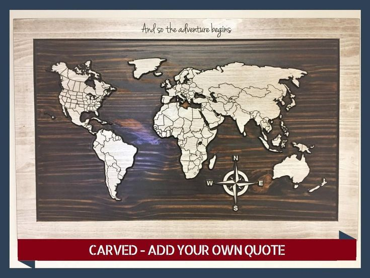 Home Wall Decor, Wooden Map, World Map with Countries, Carved, Solid Wood, Office Decor, Wood Wall Art, Rustic, Shabby Chic by HowdyOwl on Etsy