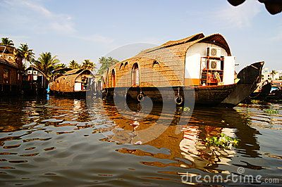 The beautiful house boats on the backwaters of Verkala.