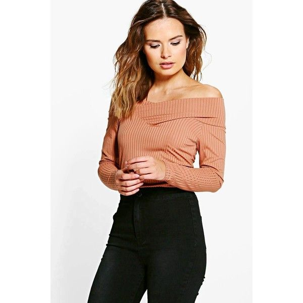 Boohoo Lauren Ribbed Bardot Top ($20) ❤ liked on Polyvore featuring tops, camel, lace body suit, off shoulder crop top, ribbed crop top, body suit and lace bralet tops