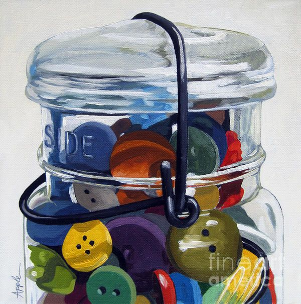 """Old Button Jar"" original painting by Linda Apple"