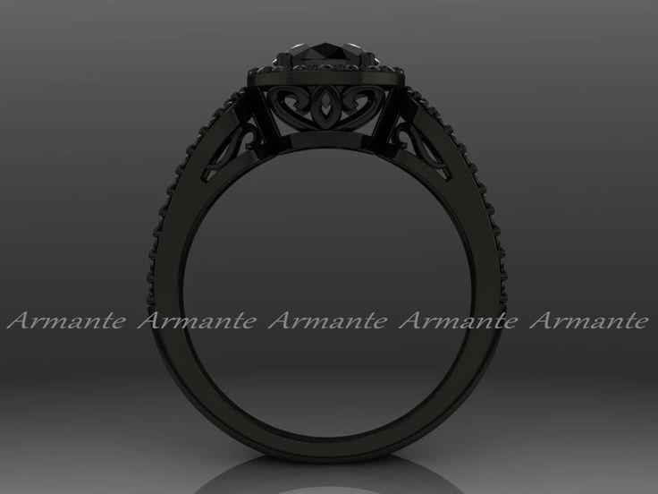 Anillo de compromiso de diamante negro oro negro Halo. 14 k oro blanco anillo de bodas Re00012wbk de ArmanteDesign en Etsy https://www.etsy.com/mx/listing/267021987/anillo-de-compromiso-de-diamante-negro