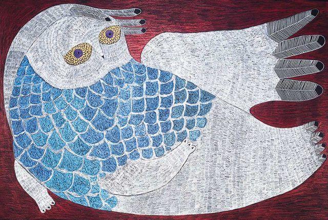 Ningeokuluk Teevee - Angutigijaq 30 x 44 Graphite and coloured pencil on paper (2012)