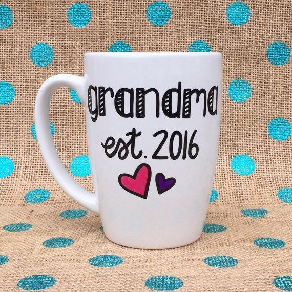 Grandma Coffee Mug - Grandma Est. 2016 - Hand Painted Coffee Mug - New Grandma Mug - Grandma Mug - Custom Gift - Grandmother - Grandma Gift