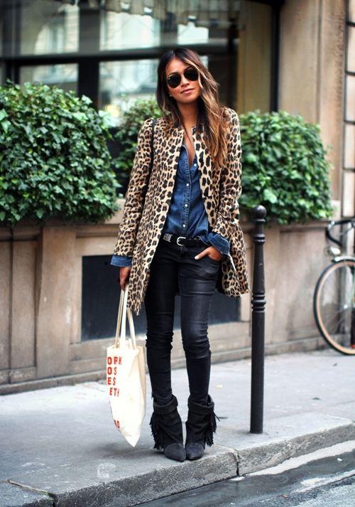 Blue denim shirt leopard jacket and black leather tight pants | street style fashion