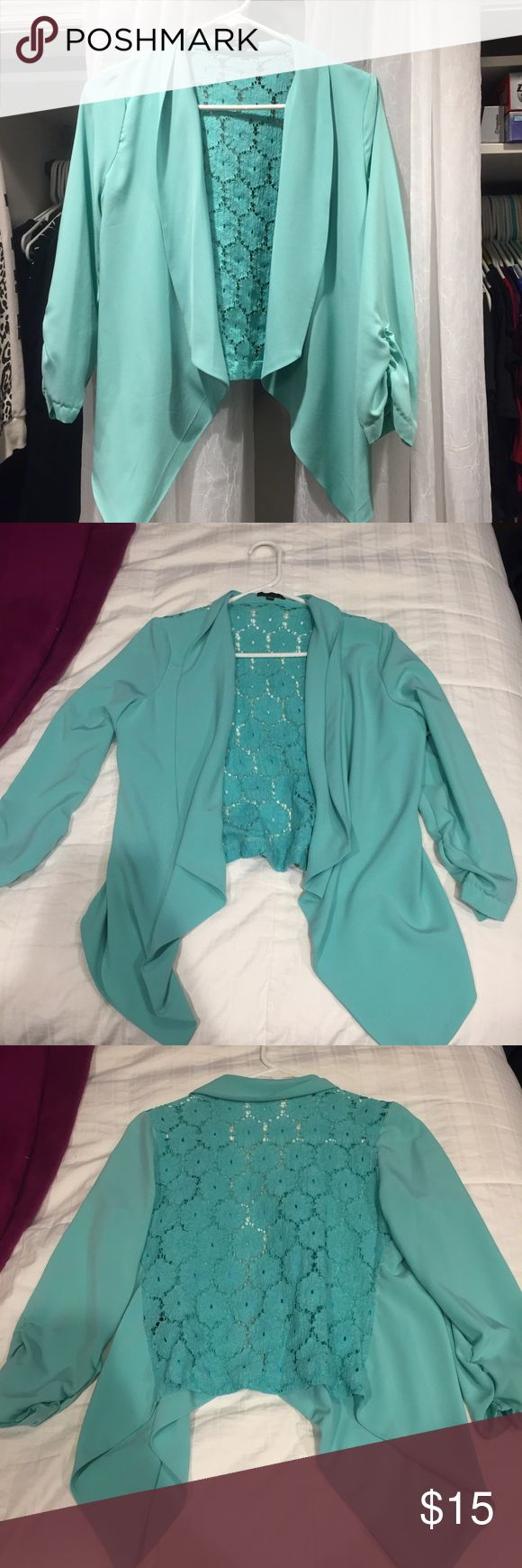 Brand new teal blue blazer with lace back Brand new without tags. Teal blue/mint green work blazer with a full lace back. Super thin and airy but still so cute. mine Jackets & Coats Blazers