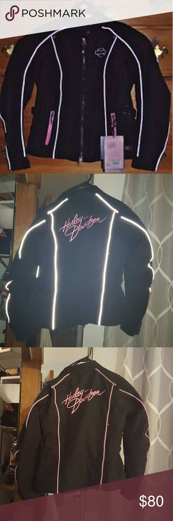 Harley Davidson jacket Harley Davidson jacket  Black with Pink detail and reflective piping throughout the body and sleeves.  Brand new condition.  Only worn once. Harley-Davidson Jackets & Coats