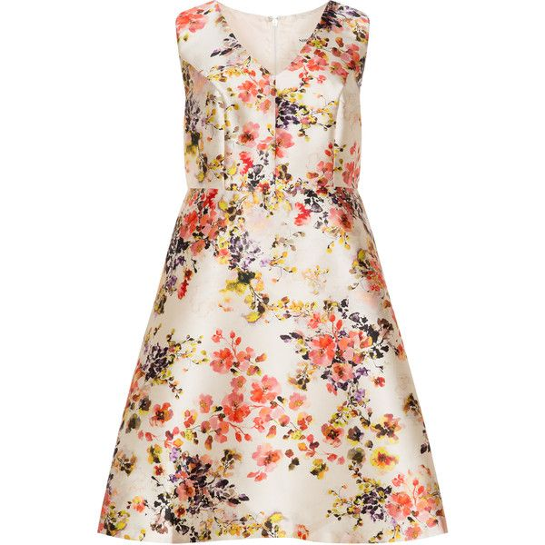 Studio 8 Cream / Multicolour Plus Size Floral A-line dress ($230) ❤ liked on Polyvore featuring dresses, cream, plus size, pink floral dress, floral skater skirt, skater skirt, a line dress and plus size dresses
