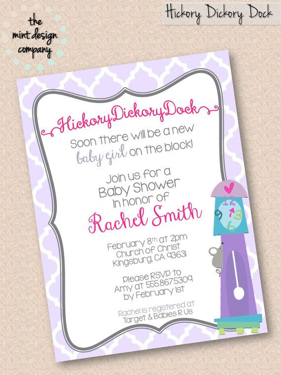 Hickory Ory Dock Nursery Rhyme Baby Shower Invitation Pretty Parties Pinterest Invitations And